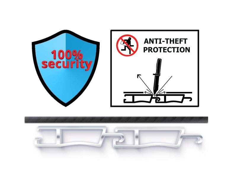 Specially designed aluminum hinges (patented) for 100% security