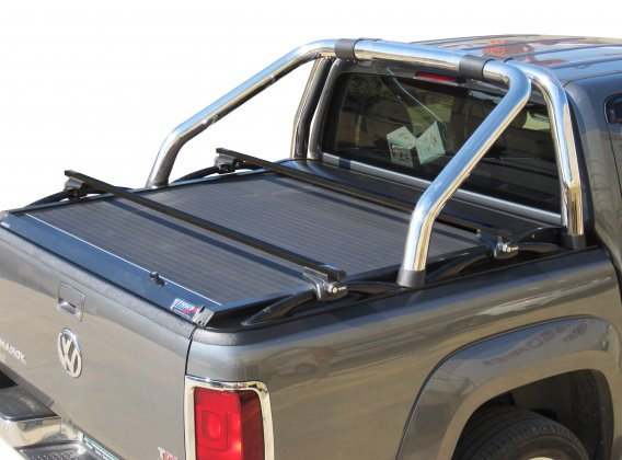 Stainless steel cross racks in black matt for VW Amarok compatible with Φ76 VW's OEM original roll bar
